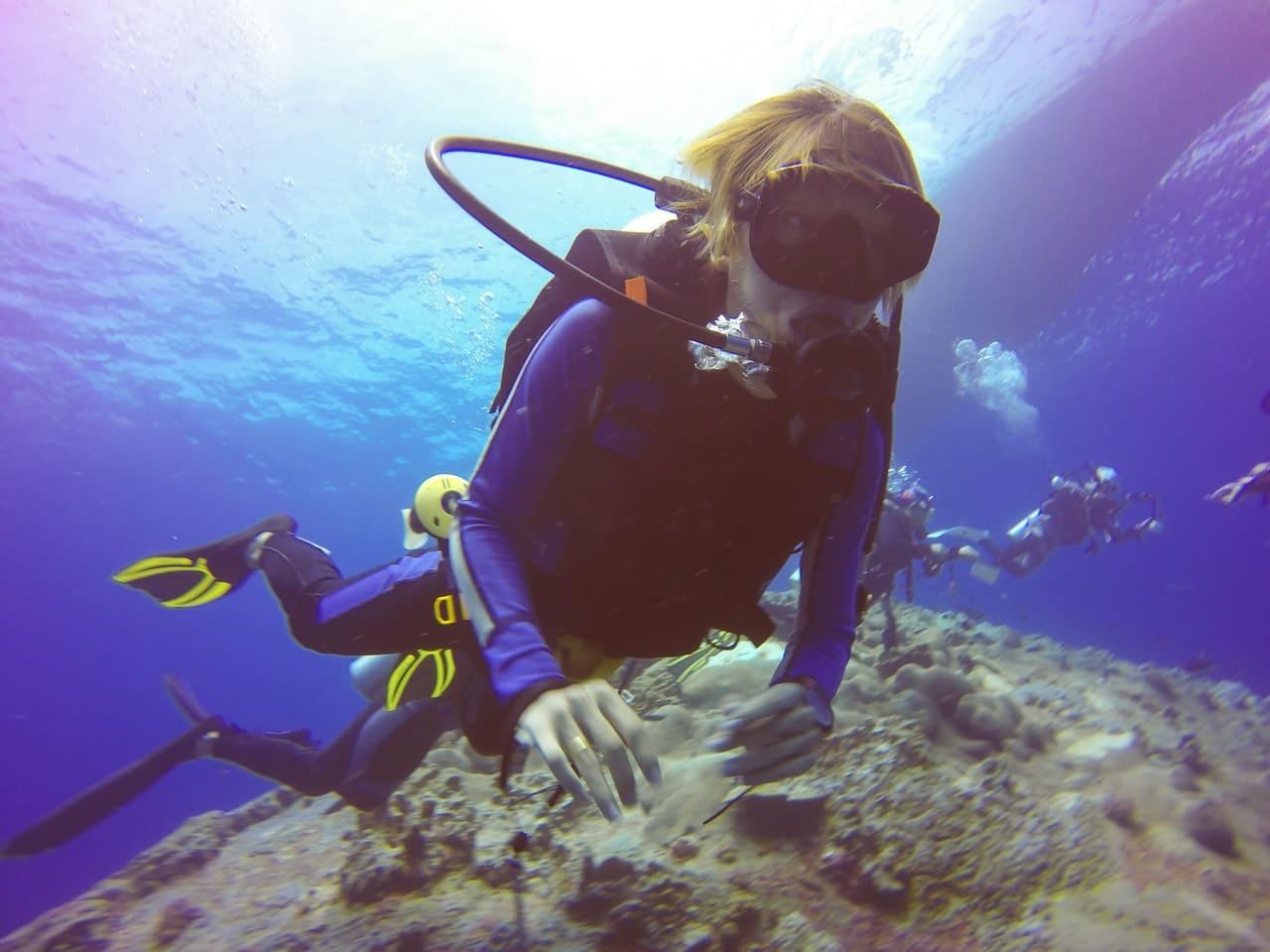Dykker dykker rundt under vandet